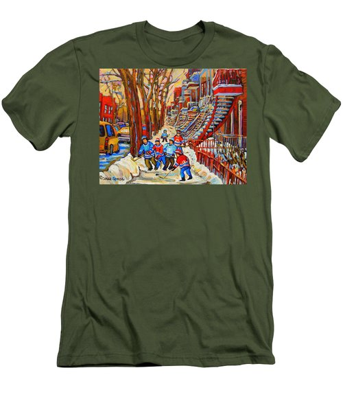 The Red Staircase Painting By Montreal Streetscene Artist Carole Spandau Men's T-Shirt (Slim Fit) by Carole Spandau