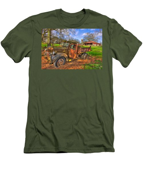 The Resting Place 2 Boswell Farm 1947 Dodge Dump Truck Men's T-Shirt (Slim Fit) by Reid Callaway