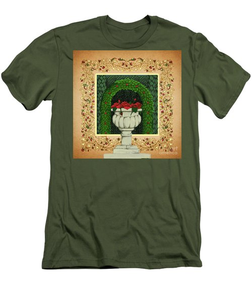 Men's T-Shirt (Slim Fit) featuring the digital art The Roses Urn by Donna Huntriss