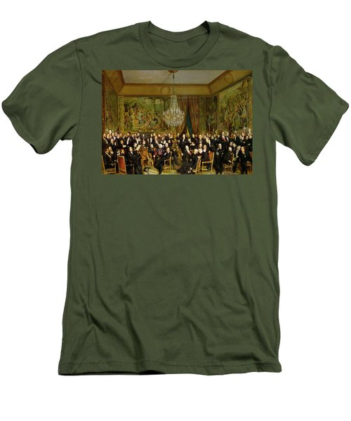 The Salon Of Alfred Emilien At The Louvre Men's T-Shirt (Slim Fit) by Francois Auguste Biard