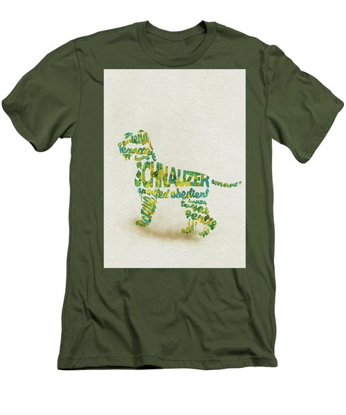 Men's T-Shirt (Athletic Fit) featuring the painting The Schnauzer Dog Watercolor Painting / Typographic Art by Ayse and Deniz