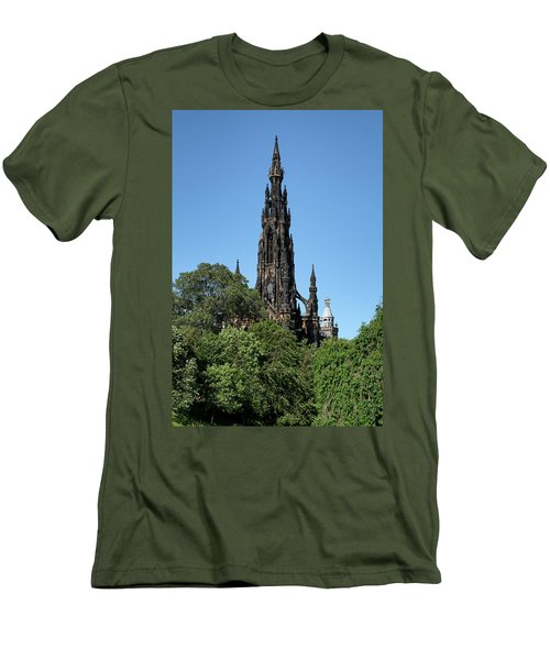 Men's T-Shirt (Athletic Fit) featuring the photograph The Scott Monument In Edinburgh, Scotland by Jeremy Lavender Photography