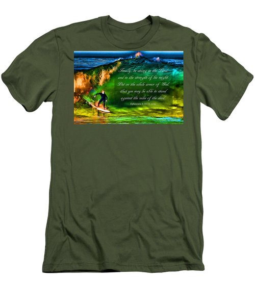 Men's T-Shirt (Slim Fit) featuring the photograph The Shadow Within With Bible Verse by John A Rodriguez