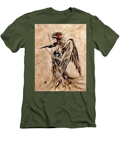 Men's T-Shirt (Slim Fit) featuring the painting The Sound Of An Angel. by Cristina Mihailescu