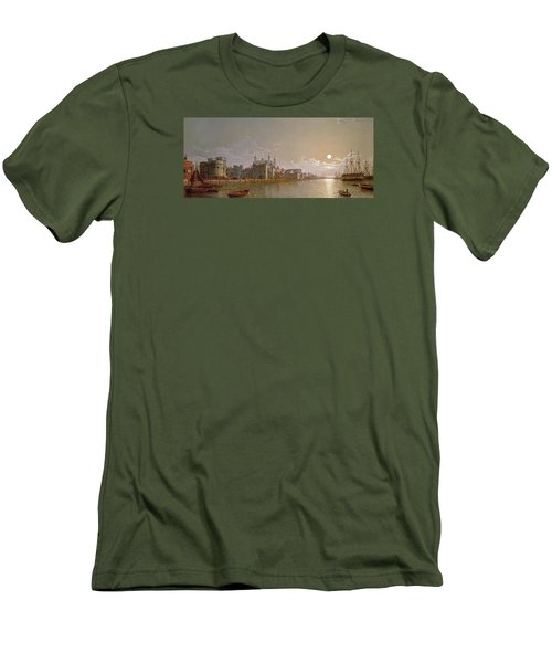 The Thames By Moonlight With Traitors' Gate And The Tower Of London Men's T-Shirt (Slim Fit) by Henry Pether