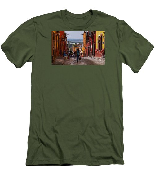 Men's T-Shirt (Slim Fit) featuring the photograph The Top Of Calle Umaran by John  Kolenberg