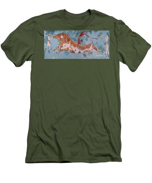 The Toreador Fresco, Knossos Palace, Crete Men's T-Shirt (Slim Fit) by Greek School