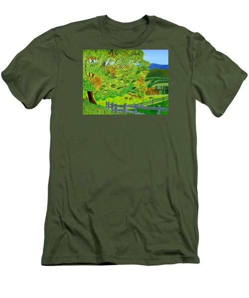 Men's T-Shirt (Slim Fit) featuring the painting The Tree Of Joy by Magdalena Frohnsdorff