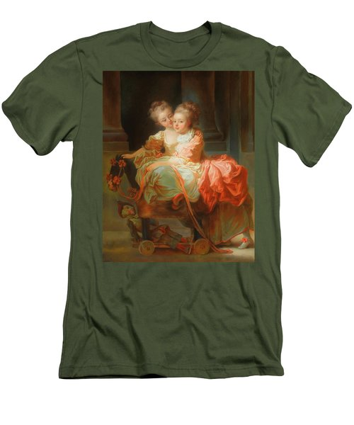 Men's T-Shirt (Slim Fit) featuring the painting The Two Sisters                                   by Jean Claude Richard