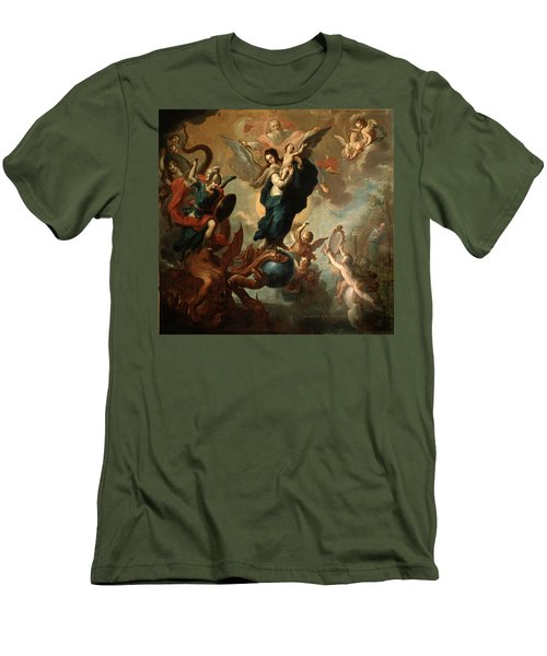 Men's T-Shirt (Slim Fit) featuring the painting The Virgin Of The Apocalypse by Miguel Cabrera