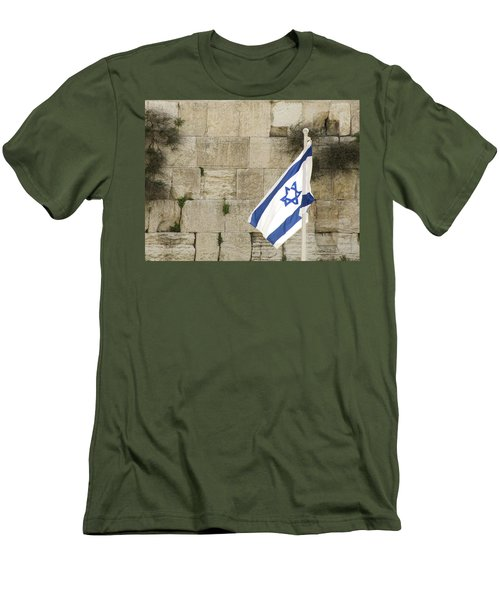 The Wailing Wall And The Flag Men's T-Shirt (Slim Fit) by Yoel Koskas
