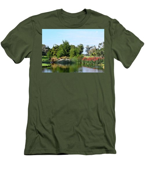 Men's T-Shirt (Slim Fit) featuring the photograph The Water On Number One Santa Maria Country Club by Barbara Snyder
