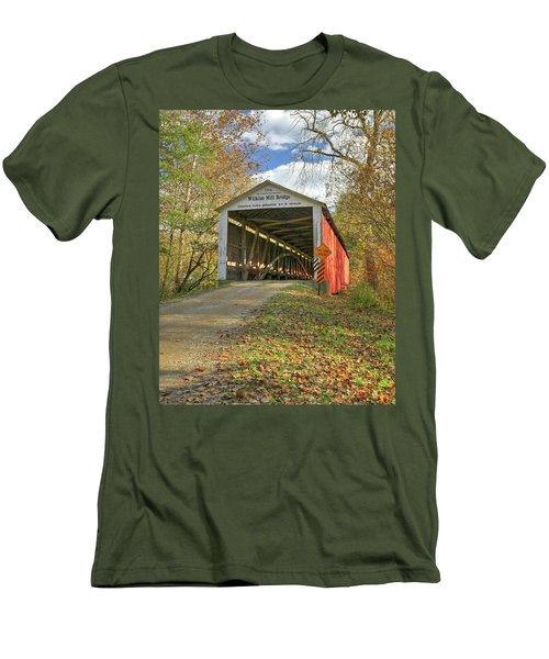The Wilkins Mill Covered Bridge Men's T-Shirt (Slim Fit) by Harold Rau