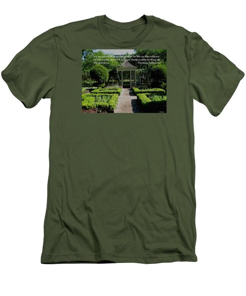Thomas Jefferson On Gardens Men's T-Shirt (Slim Fit) by Deborah Dendler