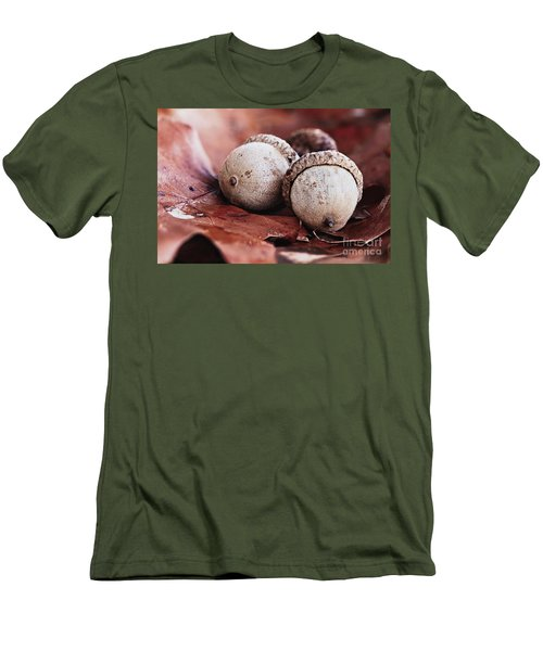 Three Acorns And Autumn Oak Leaves Men's T-Shirt (Slim Fit) by Stephanie Frey