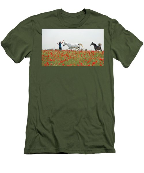 Three At The Poppies' Field Men's T-Shirt (Slim Fit) by Dubi Roman