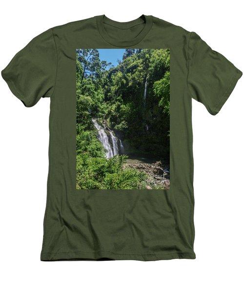 Three Bear Falls Or Upper Waikani Falls On The Road To Hana, Maui, Hawaii Men's T-Shirt (Slim Fit) by Peter Dang