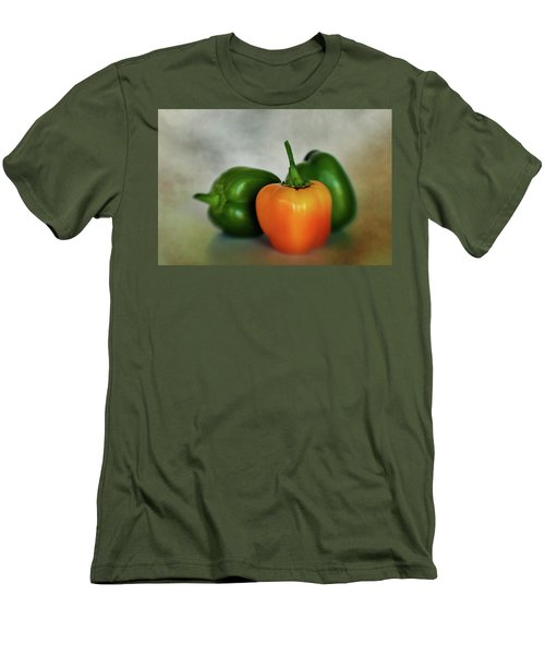 Men's T-Shirt (Slim Fit) featuring the photograph Three Bell Peppers by David and Carol Kelly