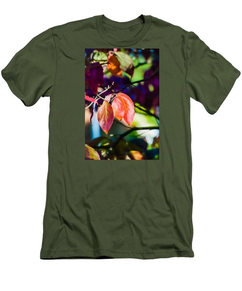 Men's T-Shirt (Slim Fit) featuring the photograph Three Leaves - 9583 by G L Sarti