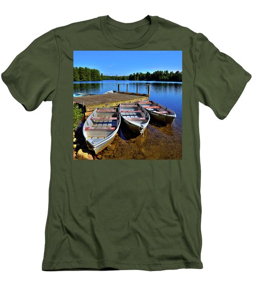 Three Rowboats Men's T-Shirt (Slim Fit) by David Patterson