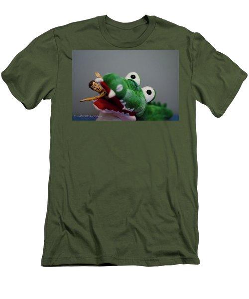 Tick Tock Crock Men's T-Shirt (Slim Fit) by Stefanie Silva