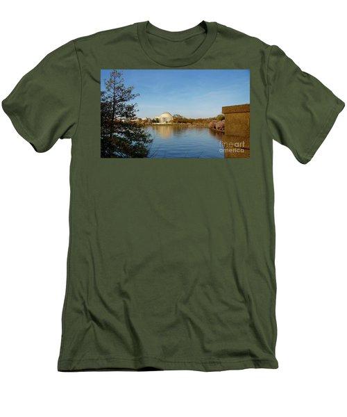 Tidal Basin And Jefferson Memorial Men's T-Shirt (Slim Fit) by Megan Cohen