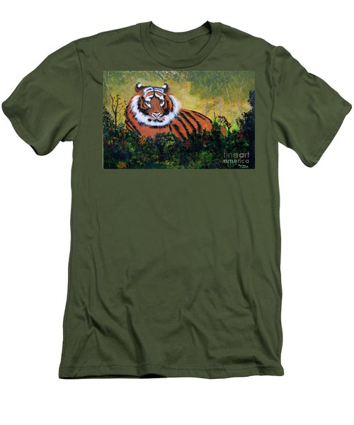 Tiger At Rest Men's T-Shirt (Slim Fit) by Myrna Walsh
