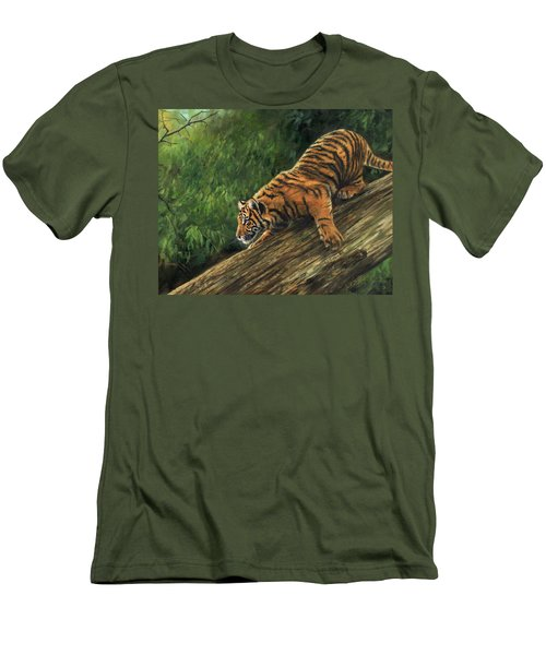 Men's T-Shirt (Slim Fit) featuring the painting Tiger Descending Tree by David Stribbling