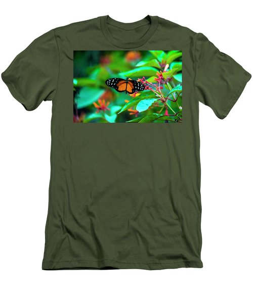 Men's T-Shirt (Athletic Fit) featuring the photograph Tiger Longwing Butterfly by David Morefield