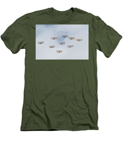Men's T-Shirt (Athletic Fit) featuring the photograph Tiger Moth Formation by Gary Eason