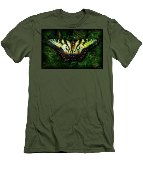 Men's T-Shirt (Slim Fit) featuring the photograph Tiger Swallowtail by Iowan Stone-Flowers