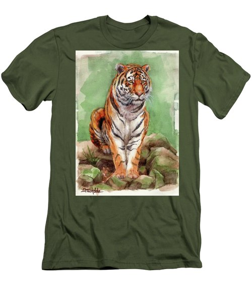 Tiger Watercolor Sketch Men's T-Shirt (Slim Fit) by Margaret Stockdale