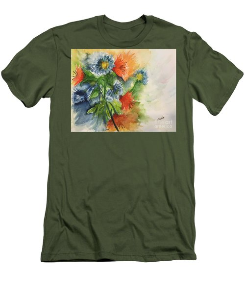 Tigerlilies And Cornflowers Men's T-Shirt (Slim Fit) by Lucia Grilletto