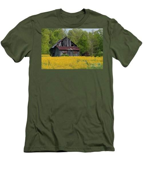 Men's T-Shirt (Slim Fit) featuring the photograph Tired Indiana Barn - D010095 by Daniel Dempster