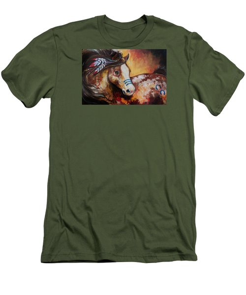 Tobiano Indian War Horse Men's T-Shirt (Slim Fit) by Marcia Baldwin