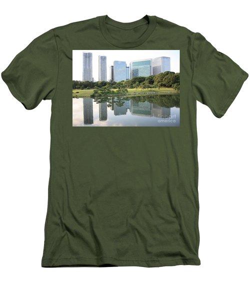 Tokyo Skyline Reflection Men's T-Shirt (Slim Fit) by Carol Groenen