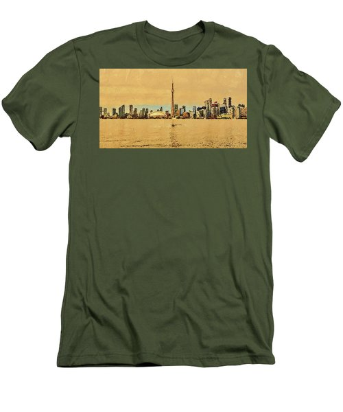 Men's T-Shirt (Athletic Fit) featuring the digital art Toronto Skyline Panorama by PixBreak Art