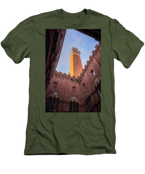 Men's T-Shirt (Slim Fit) featuring the photograph Torre Del Mangia Siena Italy by Joan Carroll