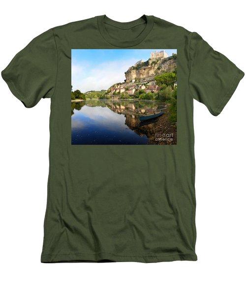 Town Of Beynac-et-cazenac Alongside Dordogne River Men's T-Shirt (Slim Fit) by IPics Photography