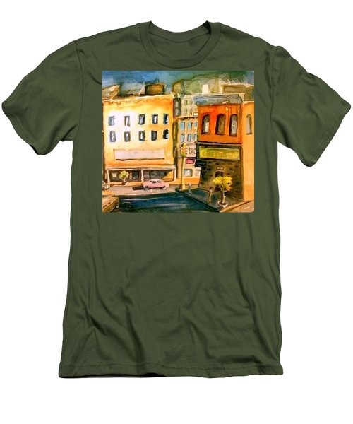 Men's T-Shirt (Slim Fit) featuring the painting Town by Steven Holder