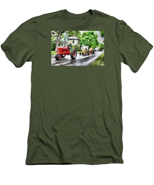 Tractors On Parade Men's T-Shirt (Slim Fit) by Rena Trepanier