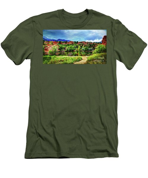 Men's T-Shirt (Slim Fit) featuring the photograph Trails Of Red Rock Canyon by Deborah Klubertanz