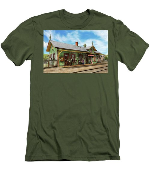 Men's T-Shirt (Slim Fit) featuring the photograph Train Station - Garrison Train Station 1880 by Mike Savad