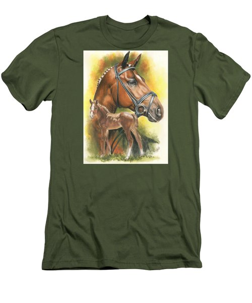 Men's T-Shirt (Slim Fit) featuring the mixed media Trakehner by Barbara Keith