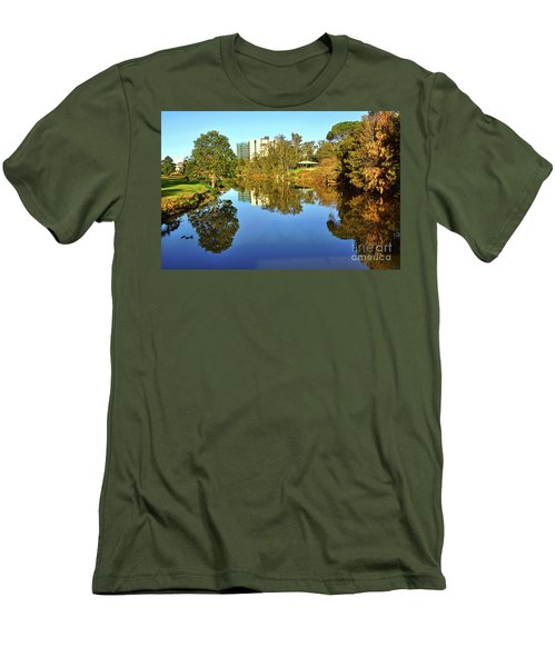 Men's T-Shirt (Slim Fit) featuring the photograph Tranquil River By Kaye Menner by Kaye Menner