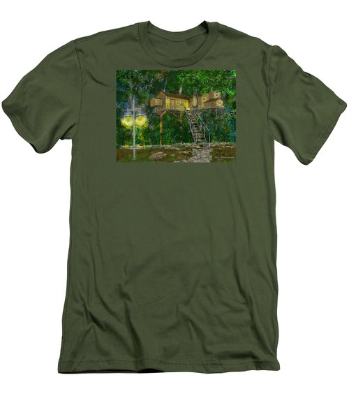 Men's T-Shirt (Slim Fit) featuring the drawing Tree House #10 by Jim Hubbard
