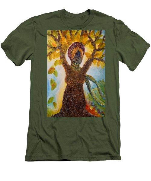 Tree Woman Men's T-Shirt (Slim Fit) by Theresa Marie Johnson