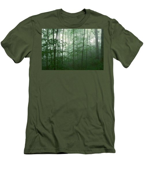 Men's T-Shirt (Athletic Fit) featuring the photograph Trees In The Mist by Joye Ardyn Durham