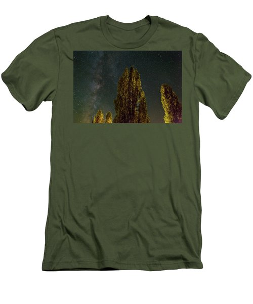 Trees Under The Milky Way On A Starry Night Men's T-Shirt (Athletic Fit)