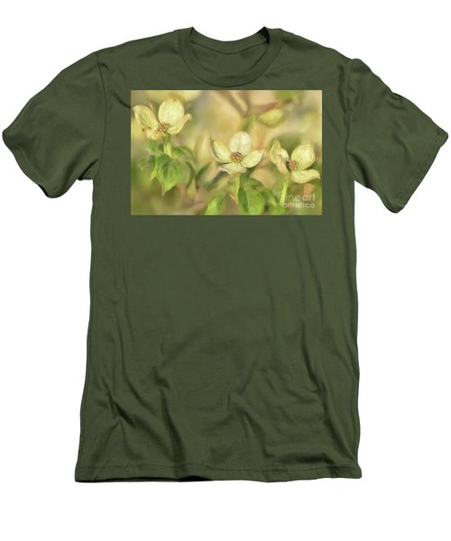 Men's T-Shirt (Slim Fit) featuring the digital art Triple Dogwood Blossoms In Evening Light by Lois Bryan